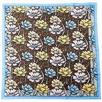 Fendi Flowers Foulard Silk Scarf Women's Blue Photo