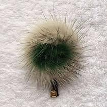 Fendi Fur Brooch in Green & Off White - Bnib Photo