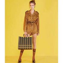 Fendi Gingham Check Playsuit Romper Dress Sz 36 Small Photo