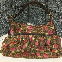Fendi Handbag Purse Painted Roses on Zucca Logo Canvas Photo