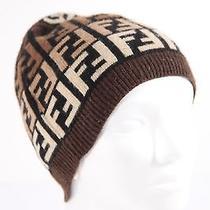 Fendi Italian Brown Ff Monogram Wool Blend Knit Hat Beanie Cap My Photo