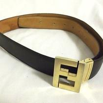 Fendi Italy Size Small/medium 29 30 32 34 Dk Brown Leather Belt W/gold Buckle Fs Photo