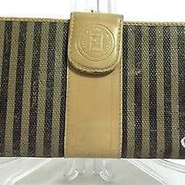 Fendi Italy Vtg Black Stripe Tan Leather 7x3.5 Checkbook Bifold Wallet Poor/fair Photo