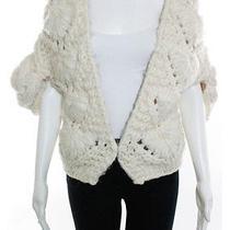 Fendi Ivory Chunky Decorative Cable Knit Shrug Sweater Sz It 46  Photo