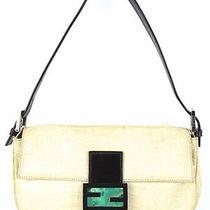 Fendi Ivory Crocodile Baguette Bag With Green Quartz Stone Clasp Auth 76-338 Photo