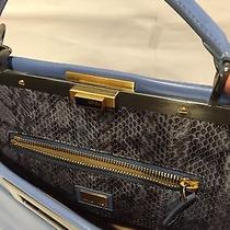 Fendi Large Peekaboo Blue Tote Bag With Snake Mint Condition 4230 Retail Photo