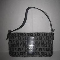 Fendi Mini Zucca Leather/canvas Navy/chrome Baguette Shoulder Purse Photo