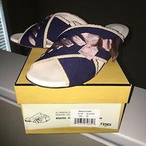 Fendi Navy/pink Bow Knit Leather Flat Sandals Slides Size 39/9 Us Photo
