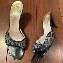 Fendi Navy Satin Logo High Heel Sandals Size 38 Photo