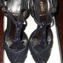 Fendi  Open  Strap  Heels  With  Fendi  Weaving -- Peep Toe   Size 37   Photo