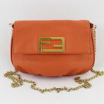 Fendi Orange Leather Gold Tone Metal Flap Top Convertible Crossbody Clutch Bag Photo