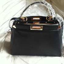 Fendi Peekaboo Handbag Luxury Fendi Black Calfskin Photo