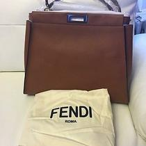 Fendi Peekaboo Large Bark & Graphite Brown Bag Photo