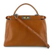 Fendi Peekaboo Medium Brown Calfskin Leather Satchel Shoulder & Crossbody Bag Photo