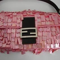 Fendi Pink Mother of Pearl/satin/brown Leather Handbag/purse/shoulder Bag Photo