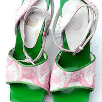 Fendi Pink White Snakeskin Painted Bright Green Wood Platform Heels  Photo