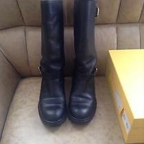 Fendi Rabbit Fur Tall Leather Motorcycle Boots Rp1000 Photo