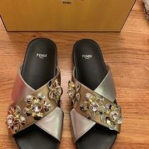 Fendi Roma Flat Sandal Champagne Silvergold W/ Flower Detail Sz 37 Brand New Photo