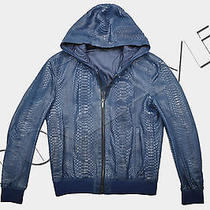 Fendi Rp11500 Rare Blue Python Leather Hooded Bomber Jacket Photo
