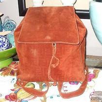 Fendi Rust Orange Large Heavy Suede Unisex Unique Rare Backpack Shoulder Bag  Photo