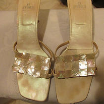 Fendi Sandles Slides Shoes Size 7nude Beige Leather Mother of Pearl Capiz Shell  Photo