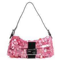Fendi Satin Mother of Pearl Baguette Pink Handbag Shoulder Bag Purse  Photo