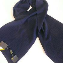 Fendi Scarf Navy Blue Zucca Print 100% Wool Approx. 80