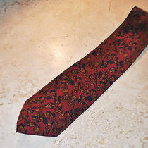 Fendi Silk Tie Maroon Gold Clover Floral Design Skinny Vintage Photo