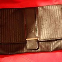Fendi Solid Black Stripped Canvas Large Clutch  Photo