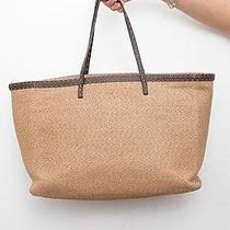 Fendi Straw Raffia Brown Tan Leather Linen Tote Shopper Hand Shoulder Bag Purse Photo