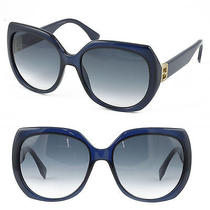 Fendi Sunglasses Ff 0047/s Mjhjj Dark Blue Oversized W gold&crystal Temples New Photo