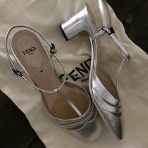 Fendi T-Strap Low Block Heels Silver 38 Photo