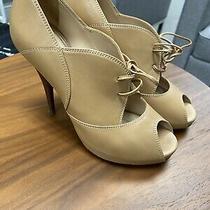 Fendi Tan Leather Lace Up Open Toe Platform Heels Womens Size 38.5 Photo