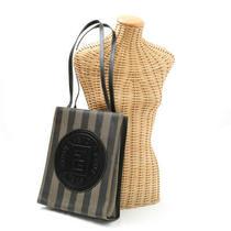 Fendi Tote Bag Pequin Logo Leather Pvc Khaki Brown Photo