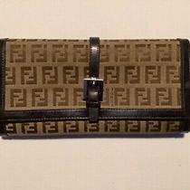 Fendi Tri-Fold Tan/brown Canvass W/ Leather Trim Womens Wallet Photo