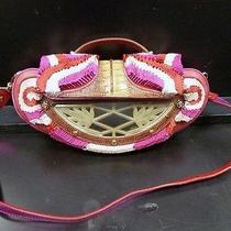 Fendi Vanity Mirror Crocodile Clutch Embroidered Red Pink White Brown Photo