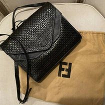 Fendi Vintage Woven Leather Crossbody Clutch Bag Black Navy Leather Lined Photo