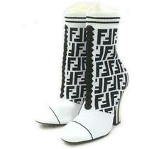Fendi  White Monogram Ff Zucca Stretch Knit Woven Sock Heels 862508 Photo