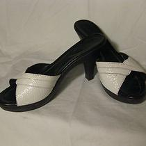 Fendi White Slide Sandal Wood Platform 39.5 Photo