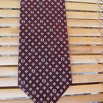 Fendi Wine  Geometric  Print Silk  Tie Photo
