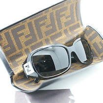 Fendi Women Fs350r 58 16 Black Crystal Accent Logo  Italy Sunglasses New W Case Photo
