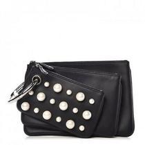 Fendi Women's Black Leather Pearl Studded Triplette Multi Clutch Handbag 8bs001 Photo
