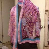 Fendi Women's Scarf 100% Silk. Gently Worn Condition as Is. Read Descp Photo