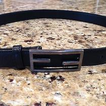 Fendi Womens Belt - Black Signature Fabric and Leather - Size 32 Inches Photo