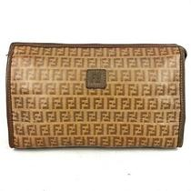 Fendi Womens Brown Ff Zucca Monogram Canvas Clutch Bag / Purse / Pouch W Logo Photo