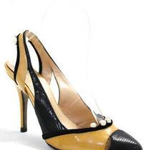 Fendi Womens Jeweled Cap Toe Slingback Pumps Yellow Black Size European 36.5 Photo