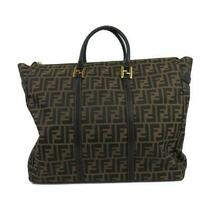 Fendi Zucca Print 2way Shoulder Tote Hand Bag Canvas Leather Ladies Khaki Black Photo