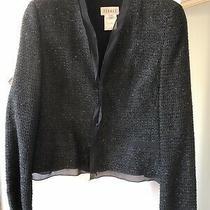 Feraud Designer Black Shimmering Tweed Jacket Chanel Vibes Silk Blend Long Slee Photo