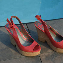Fergalicious 'Quotation' Wedge Sandals  Red Size 6.5 Photo