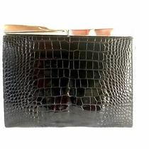 Ferragamo Black Embossed Croc Purse. Convertible From Clutch to Shoulder Bag. Photo